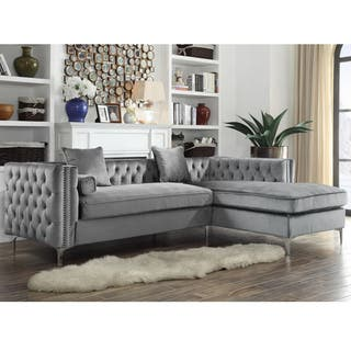 living room sectionals. Chic Home Monet Velvet Silvertone Metal Y leg Right Facing Sectional Sofa  Grey Sofas For Less Overstock com