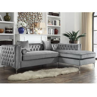 Chic Home Monet Velvet Silvertone Metal Y Leg Right Facing Sectional Sofa,  Grey