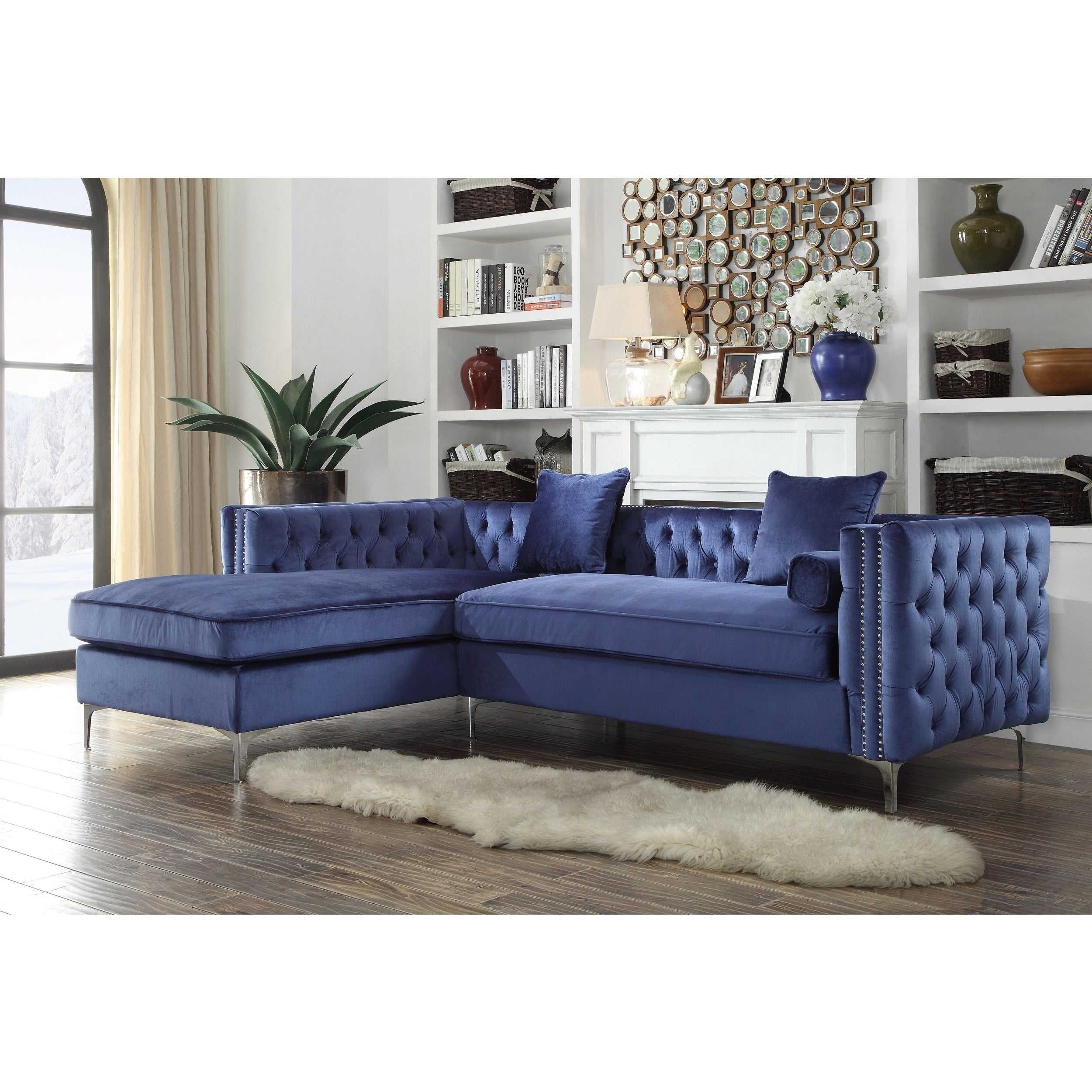 Ordinaire Chic Home Monet Velvet Silver Nailhead Trim Y Leg Left Facing Sectional Sofa,  Navy