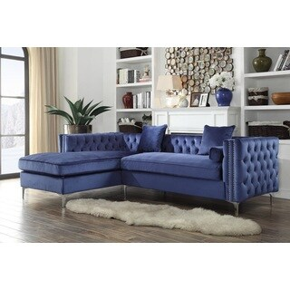 Chic Home Monet Velvet Silver Nailhead Trim Y-leg Left Facing Sectional Sofa, Navy