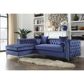 Chic Home Monet Velvet Silver Nailhead Trim Y Leg Left Facing Sectional Sofa,  Navy