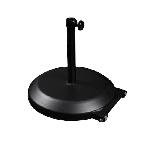Havenside Home North Bend 75-pound Round Concrete Weighted Powdercoated Steel Umbrella Base With Wheels