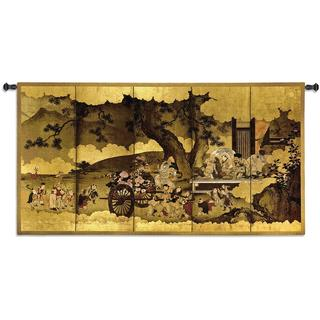 Fine Art Tapestries 'Seven Gods of Good Fortune and Chinese Children' Small Cotton Wall Tapestry