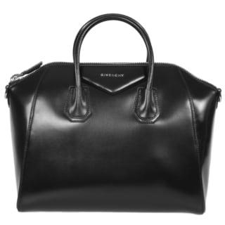 Givenchy Antigona Black Leather Medium Satchel Handbag with Detachable Shoulder Strap