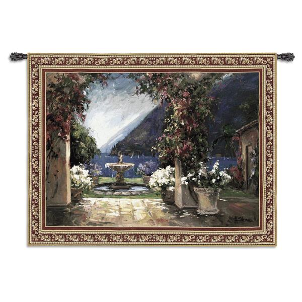 Shop Fine Art Tapestries \'Seaside Fountain\' Large Wall Tapestry - On ...