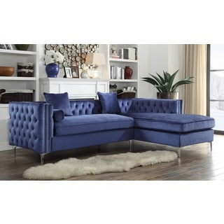 Chic Home Monet Velvet Silver Nailhead Trim Y-leg Right Facing Sectional Sofa, Navy