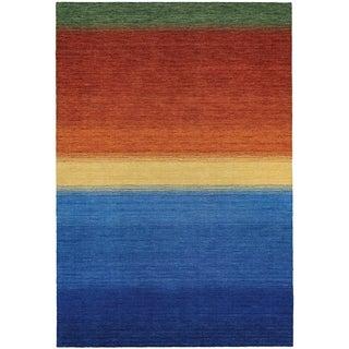 Couristan Oasis Ocean Sunset Ocean Blue and Burnt Orange Virgin Wool Area Rug (3'6 x 5'6)