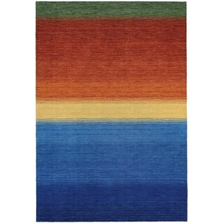 Couristan Oasis Ocean Sunset/Ocean Blue-Burnt Orange Wool Area Rug - 3'6 x 5'6