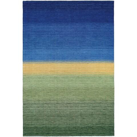 Couristan Oasis Greener Pastures Ocean Blue-Grass Wool Area Rug - 2' x 4'