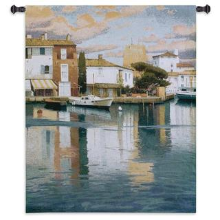 Fine Art Tapestries Harbor At Morning Light Cotton Wall Tapestry