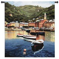 Fine Art Tapestries 'Harbor At Last Light' Multicolored Cotton Wall Tapestry