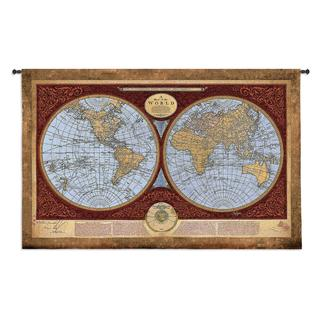 Fine Art Tapestries Map Of The World Large Cotton Wall Tapestry
