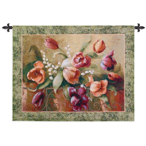 Fine Art Tapestries 'Terrace Tulips' Cotton Wall Tapestry
