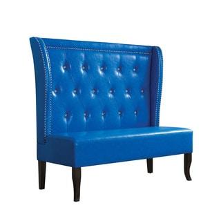 Acme Furniture Oliana Tufted Blue Faux Leather Settee