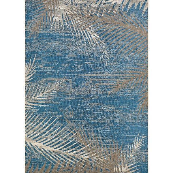 Couristan Monaco Tropical Palms Ocean Blue Indoor Outdoor