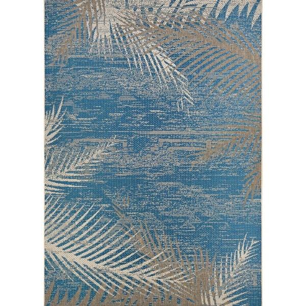 Ocean House Rug: Couristan Monaco Tropical Palms Ocean Blue Indoor/ Outdoor