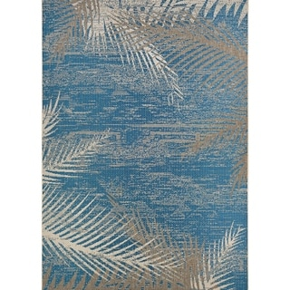 Samantha Coconut Creek/ Blue- Beige Indoor/Outdoor Rug - 5'3 x 7'6