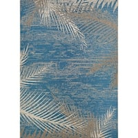 "Samantha Coconut Creek Blue- Beige Indoor/Outdoor Rug - 5'3"" x 7'6"""