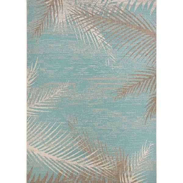 Samantha Coconut Creek Turquoise-Ivory-Beige Indoor/Outdoor Rug - 5'3 x 7'6