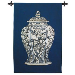 Fine Art Tapestries Oriental Blue I Large Cotton Wall Tapestry