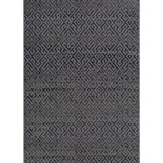 "Samantha Greek Key Black Indoor/Outdoor Area Rug - 5'10"" x 9'2"""