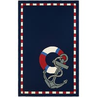 Couristan Outdoor Escape Anchors Away/Navy Indoor/Outdoor Rug - 3'6 x 5'6