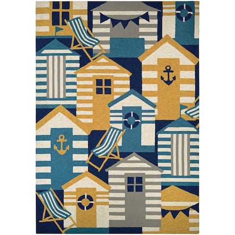 Couristan Outdoor Escape Beach Hut Navy-Multi Indoor/ Outdoor Area Rug - 2' x 4'