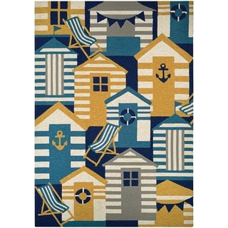 Couristan Outdoor Escape Beach Hut Navy/Multicolored Polyurethane Indoor/Outdoor Rug (2' x 4')