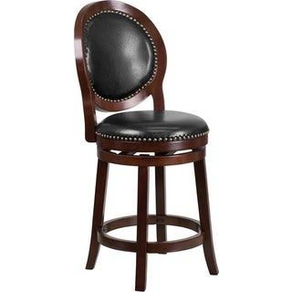 Offex Black Leather Cappuccino Wood Counter Height Barstool