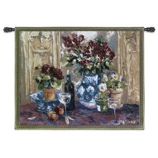 Fine Art Tapestries Red Roses With Wine Cotton Wall Tapestry