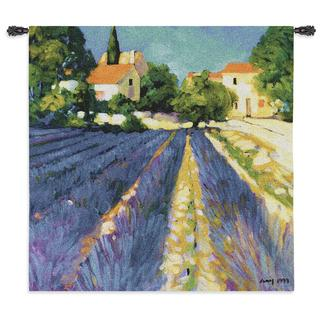 Fine Art Tapestries 'Lavender Field' Multicolored Cotton Wall Tapestry