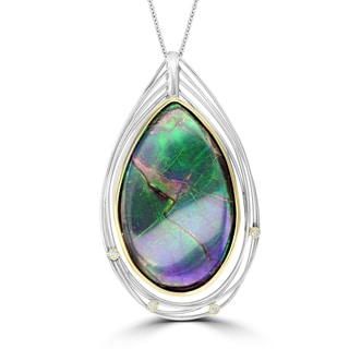 La Vita Vital 14k Two-tone Gold Ammolite and 1/10ct TDW Diamond Necklace (G-H, SI1-SI2)