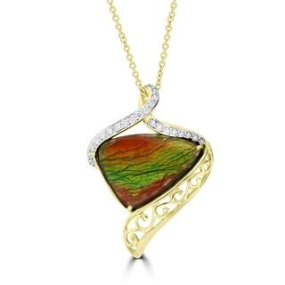 La Vita Vital 14K Yellow Gold 9.13ct Ammolite and Diamond 0.22ct (SI1-VS, G-H ) Necklace