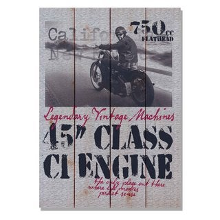 45 Class Engine 14x20 Indoor/Outdoor Full Color Cedar Wall Art