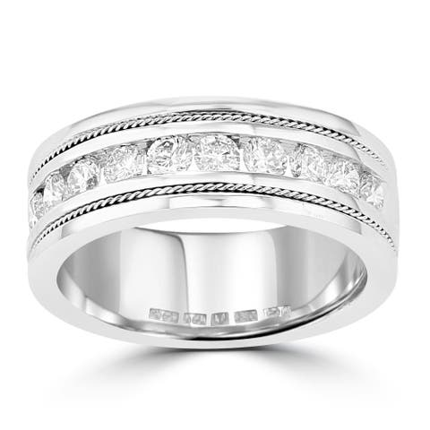 La Vita Vital 14k White Gold Men's Diamond Ring 1 1/10 cts TDW