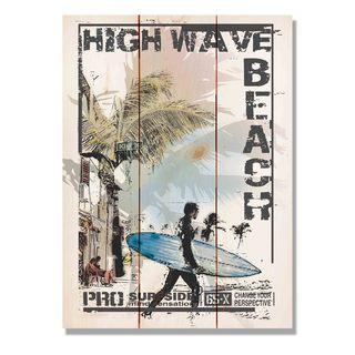 High Wave Beach 11x15 Indoor/Outdoor Full Color Cedar Wall Art