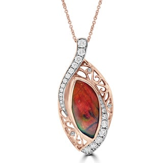 La Vita Vital 14k Rose Gold Ammolite and 1ct TDW Diamond Necklace