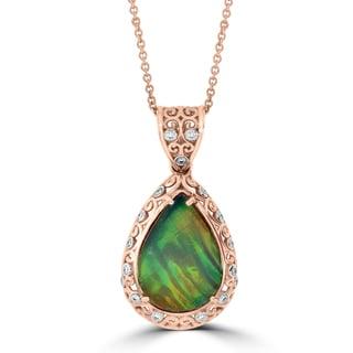 La Vita Vital 14k Two-tone Gold Ammolite and 1/5ct TDW Diamond Necklace (G-H, SI1-SI2)