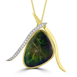 La Vita Vital 14k Yellow Gold Ammolite and 1/5ct TDW Diamond Necklace (G-H, SI1-SI2)