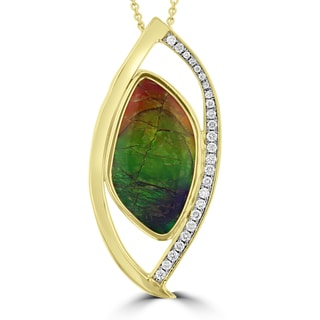 La Vita Vital 14k Yellow Gold Ammolite and 1/3ct TDW Diamond Necklace (G-H, SI1-SI2 )