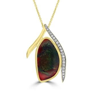 La Vita Vital 14k Yellow Gold Ammolite and 1/4ct TDW Diamond Necklace (G-H, SI1-SI2)