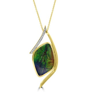 La Vita Vital 14k Yellow Gold Ammolite and 1/6ct TDW Diamond Necklace (G-H, SI1-SI2)