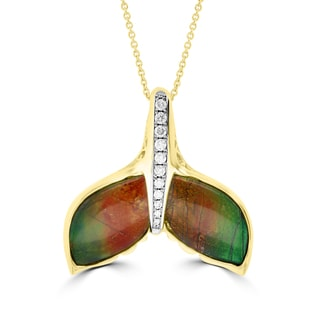 La Vita Vital 14k Yellow Gold Ammolite and 1/4ct TDW Diamond Whale Tail Necklace (G-H, SI1-SI2)
