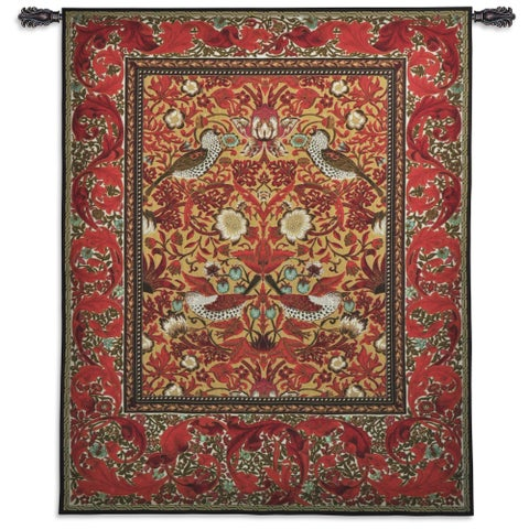 William Morris 'Strawberry Thief' Red Wall Tapestry