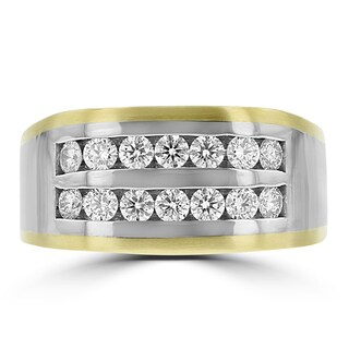 14K Yellow and White Gold Men's Diamond Ring 0.95ct TDW