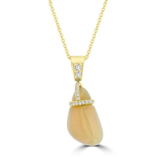 La Vita Vital 14k Yellow Gold Diamond 1/4ct TDW and Natural Ethiopian Opal 5.00ct Necklace (VS-SI1, G-H)