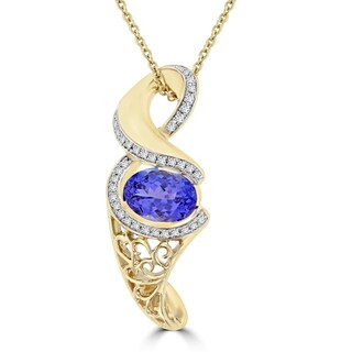 La Vita Vital 14k Yellow Gold 2ct Oval-cut Tanzanite and Diamond 0.17ct TDW Necklace