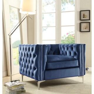 Chic Home Monet Button Tufted Silvertone Metal Y-leg Club Chair, Navy
