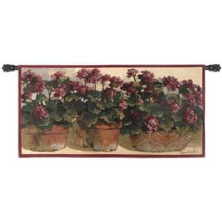 Fine Art Tapestries 'Potted Geraniums' Cotton Wall Tapestry
