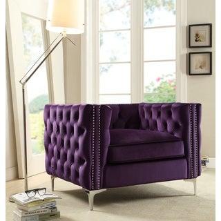 Chic Home Monet Button Tufted Silvertone Metal Y-leg Club Chair, Purple